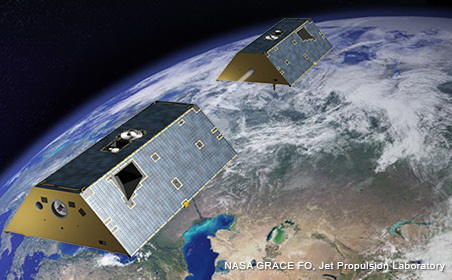 The twin GRACE-FO satellites will follow each other in orbit around the Earth, separated by about 137 miles (220 km).