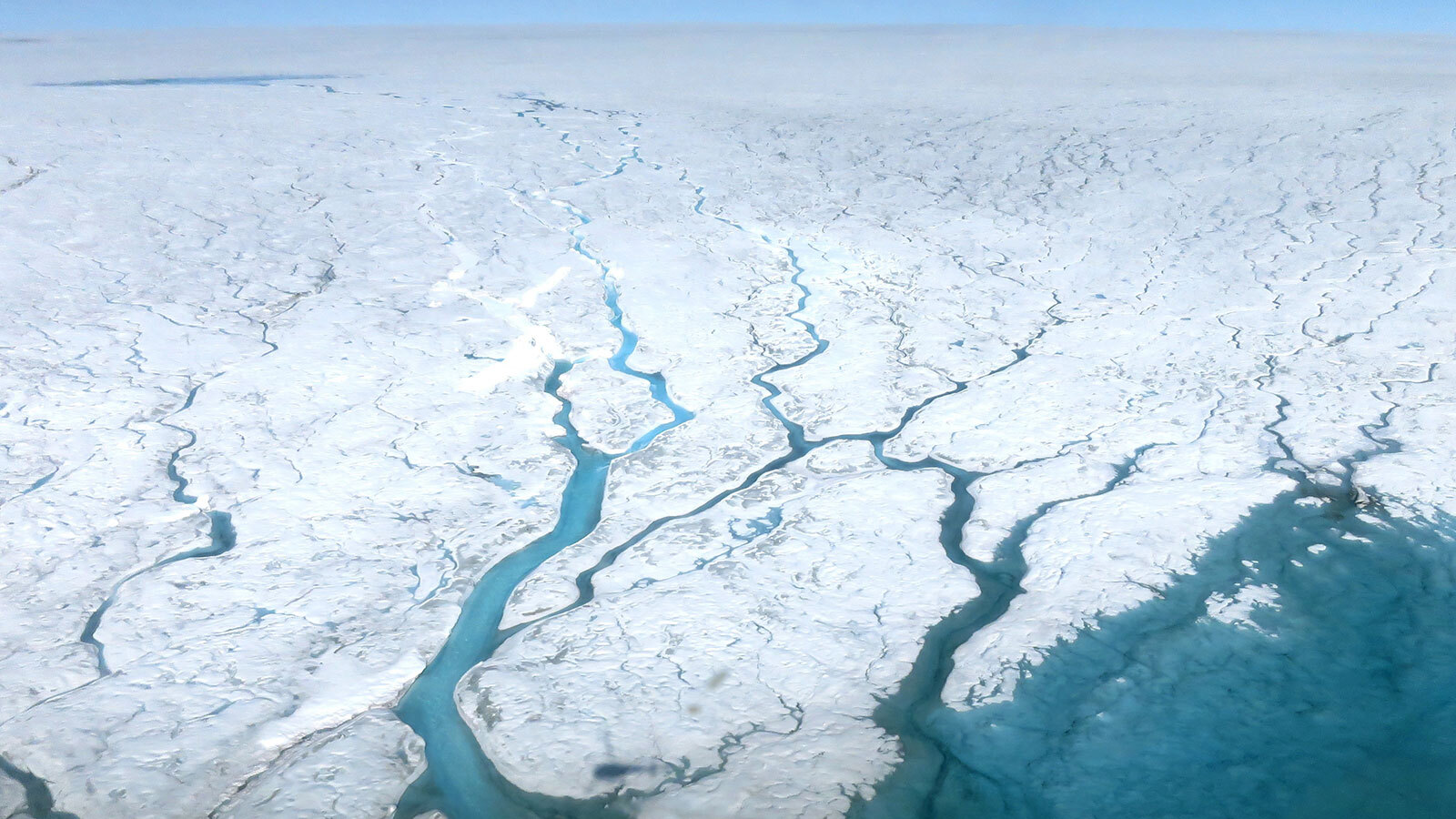Aerial photograph of meltwater rivers branching out across the Greenland Ice Sheet