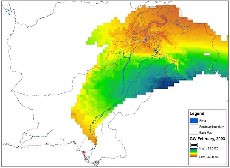 Pakistan water managers used NASA GRACE satellite data to produce this map of monthly groundwater changes in the Indus River Basin. Orange and yellow indicates areas where groundwater might be depleted, while blue and green highlights areas where groundwater is being replenished. Credit: Pakistan Council of Research in Water Resources
