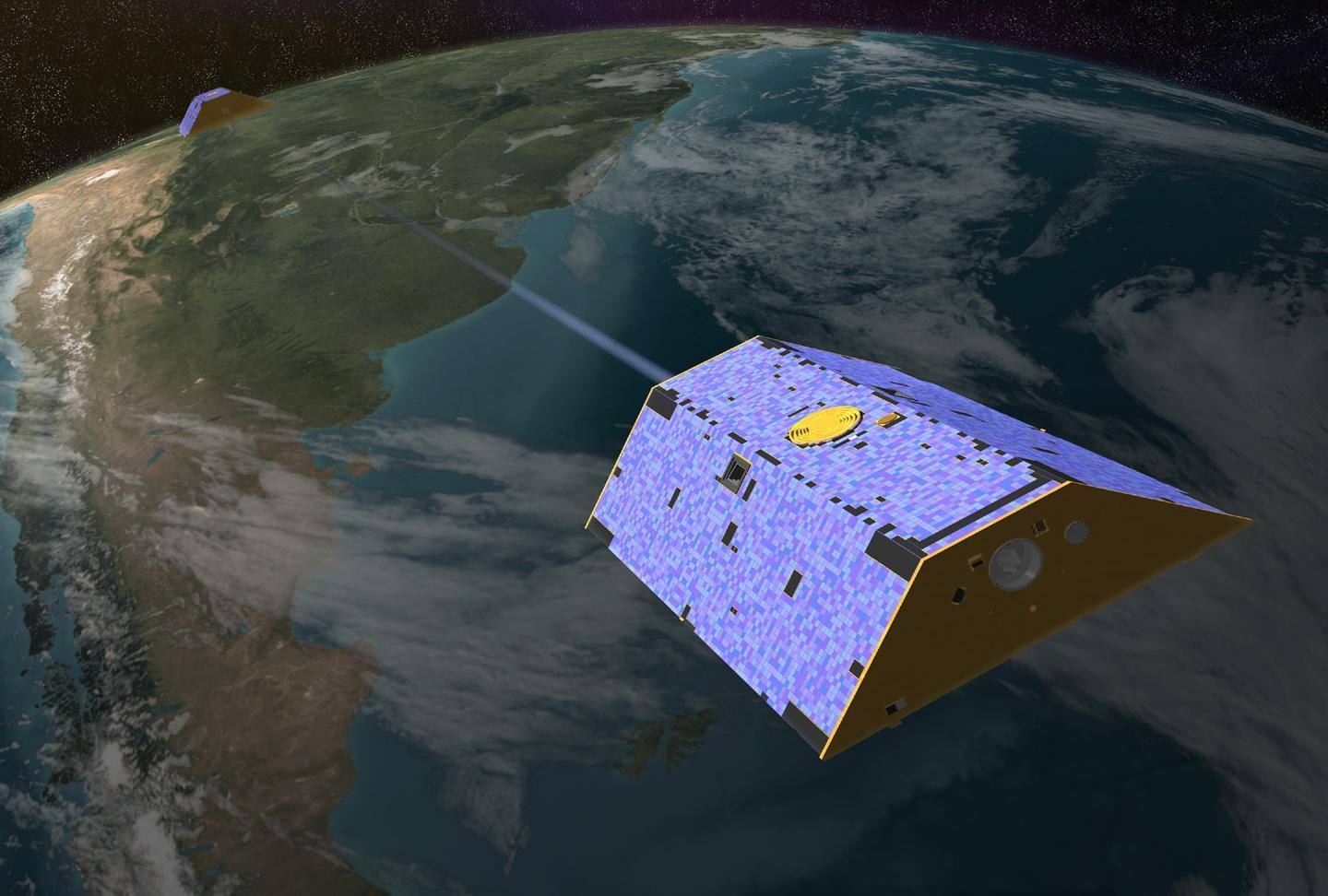 Illustration of the Gravity Recovery and Climate Experiment (GRACE) twin satellites in orbit. Credit: NASA-JPL/Caltech