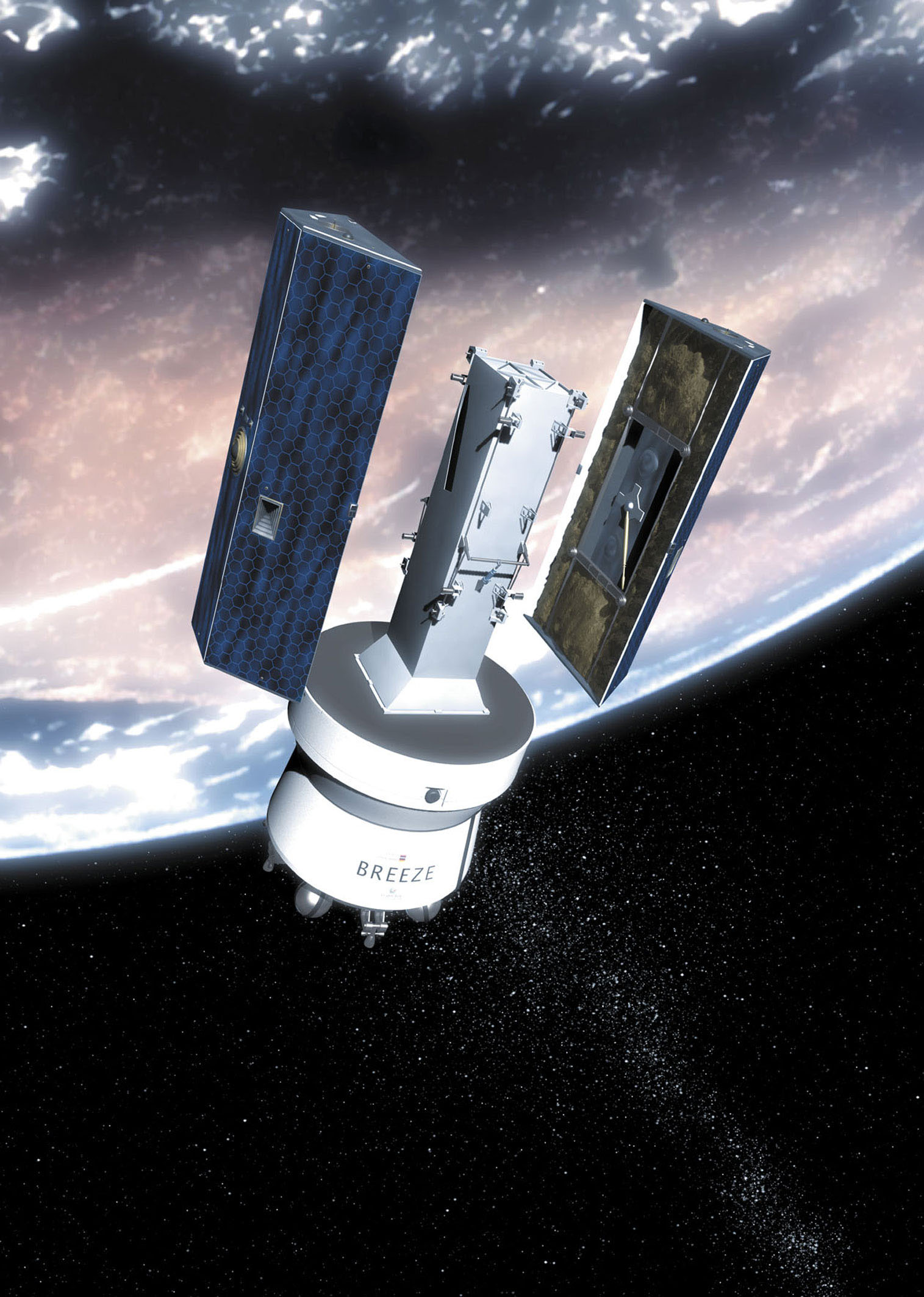 Twin GRACE spacecraft being deployed from Breeze